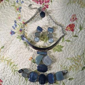 Blue necklace, earrings,bracelet & ring